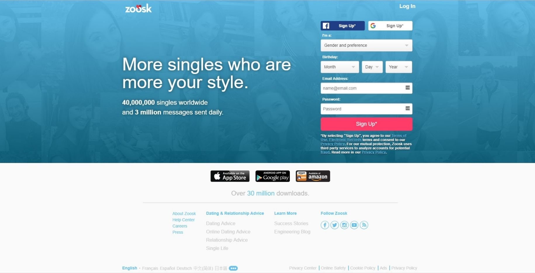 zoosk register for free