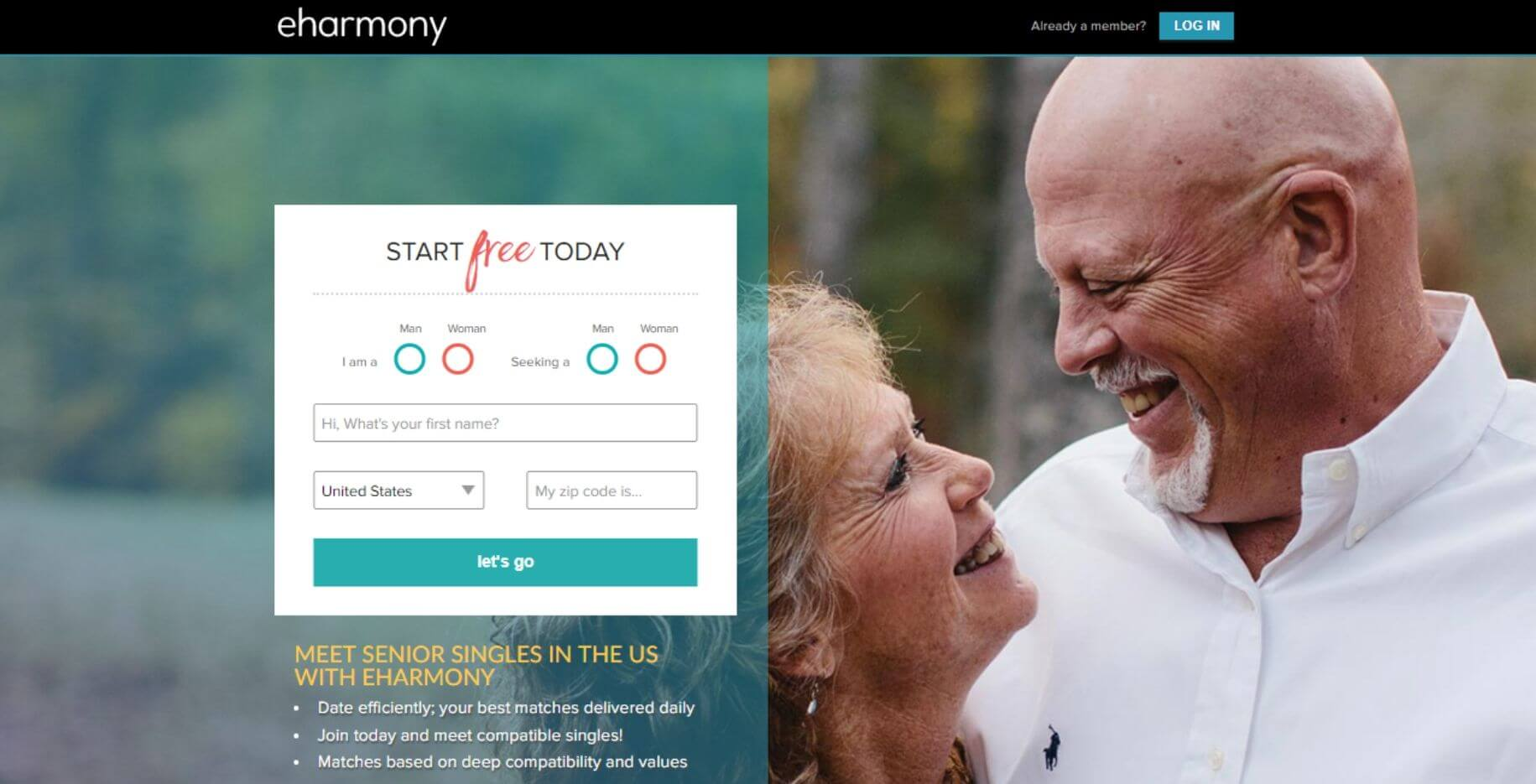 eHarmony senior free registration